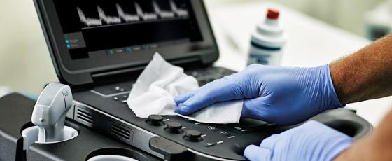 Limpeza e desinfecção de ultrassom